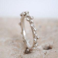 Sterling silver organic ring, handmade wedding ring, wedding band, stacking ring, bubbles ring