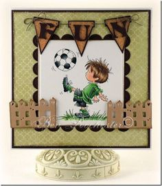 handmade kids' card ... little guy playing soccer ... Lily of the Valley ...