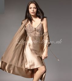 Fabric: 100% Mulberry Silk  Three color for your choice.  Elegant nightdress and classic design, silk nightwear with luxury robe. Amazing silk chemise lingerie is your best choice!        Carbon Coffee               Bronze                 Champagne