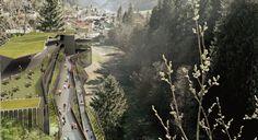 Moena, parcheggio, parcheggio multipiano, paesaggio, architettura sostenibile, concorso, biciclette, ReCS Architects