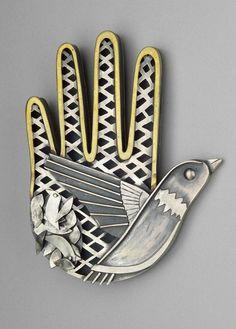 Brooch Kiff Slemmons. 'Bird in the Hand'