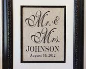 Burlap Art Personalized Mr and Mrs Gift for Weddings by Burlap Art, Wedding Inspiration, Wedding Ideas, Engagements, Helpful Tips, Announcement, Showers, Lace Wedding, Sign