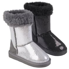 @Overstock - Keep your little girl's feet warm with these stylish Kuggy pull-on boots by Journee Collection. These sequined boots feature cozy faux fur lining and an eye-catching glimmer that will make her feel in style.http://www.overstock.com/Clothing-Shoes/Journee-Collection-Kids-Ugena-star-Faux-Fur-Accent-Sequined-Boots/7280021/product.html?CID=214117 $25.99