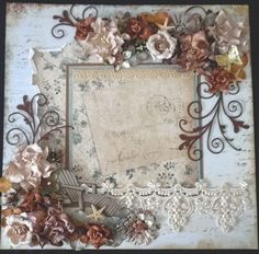 Image detail for -PreMade Scrapbook Shabby Chic Floral Lace Page by Becky picture