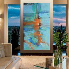 Peinture abstraite bleu gris orange peinture originale par Artoosh