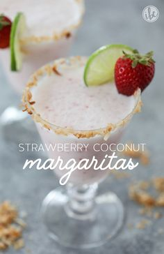 Strawberry Coconut Margaritas recipe for summer entertaining. Coconut Tequila, Coconut Margarita, Margarita Recipes, Strawberry Margarita, Fancy Drinks, Fun Cocktails, Summer Drinks, Cocktail Shots, Energy Drinks