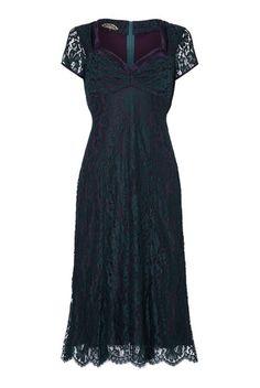 Katrina Dress in Emerald and Blackcurrant Lace | Nancy Mac