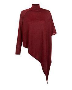 6782d053c4191 AX Paris Dark Red High Neck Asymmetric Knitted Top