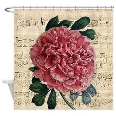 Red peony Music Shower Curtain