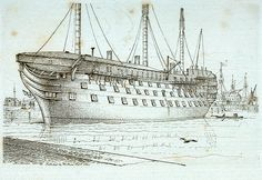'Trafalgar' 120 Guns - National Maritime Museum [Print from Moses' 'Sketches of Shipping', entitled ''Trafalgar' 120 Guns'. Signed, inscribed and dated by the artist. Port-bow to broadside view of the ship, roofed over in ordinary (reserve) moored in the basin at Sheerness Dockyard.]1 October 1824