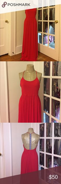 🇺🇸 Red Maxi Dress Red Maxi Dress with Low T-Back. T is Embroidered with White and Royal Blue threads (some light blue, yellow gold and red thread as well). Perfect for the 4th or any summer activity, day or night! Very soft fabric, size Medium. I'm selling because it was a little too big for me in chest, I'm usually a small but had hoped this would fit! finn&clover Dresses Maxi