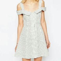 Stripe Small Skater Fit Flare Off Shoulder Dress
