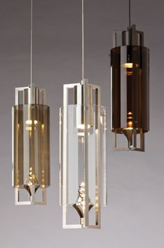 The LED light source shines brightly on the decorative finial perched inside the metal and glass exterior, Tech Lighting Projekt Pendant Light. #TechLighting #PendantLight #LED Available at loftmodern.com  http://www.loftmodern.com/products/tech-lighting-projekt-led-smoke