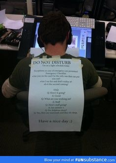 Do not Disturb sign at work...I will be putting this on my back Monday!!! Funny Pins, Funny Cute, Funny Jokes, Funny Work, Funny Stuff, Hilarious Sayings, Super Funny, Mom Funny, Funny Memes