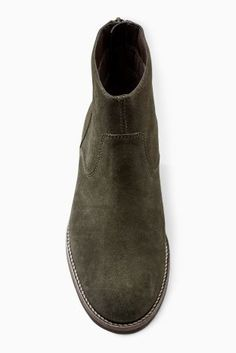 Buy Khaki Back Zip Leather Ankle Boots from the Next UK online shop