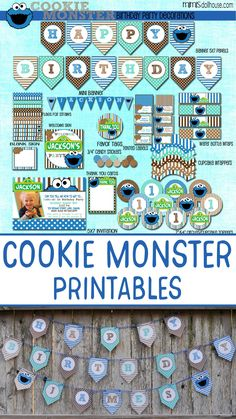 Cookie Monster Printable Party Decorations. Sesame Street party.  Cookie Monster Party printables.  Easy Sesame Street Party Ideas. via @mimisdollhouse