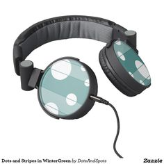 Dots and Stripes in WinterGreen Headphones