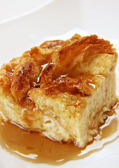 Croissant Bread Pudding: This is the BEST bread pudding I've ever had.  Used 4 large croissants, cubed them. The pudding is rich, creamy, flaky, amazing. Really.
