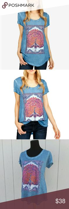 """Peacock Tee Washed out ash blue casual tee with peacock graphic. Loose fit, round neck, hi-lo hem.  Cotton/modal fabric.  Size: Medium Measurements:  Bust: 19""""   Hip: 22""""   Length: front: 27""""/back: 29""""  NO Trade / NO Paypal Lucky Brand Tops Tees - Short Sleeve"""