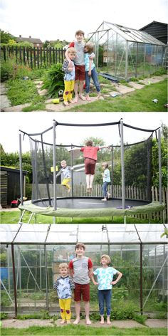 fun family photography in cambridge, in the garden bouncing on trampoline