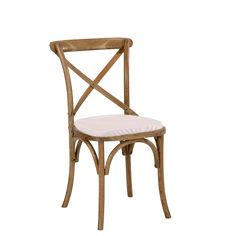 Wood bistro chair with white seat cushion