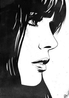 Illustration by Giuseppe Cristiano Arte Pop, Cartoon Drawings, Art Drawings, Drawing Faces, Concept Art Tutorial, Face Sketch, Art Et Illustration, White Art, Portrait Art