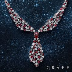 Rare rubies Nearly 30 carats of swirling white diamonds complement 26 carats of the most beautiful rubies, each stone is hand set to reflect light and emphasise the rich colour contrast in this one-of-a-kind Graff necklace, now on display at our Harrods boutique in London.  #GraffDiamonds #Rubies #Diamonds #FineJewellery #RubyNecklace