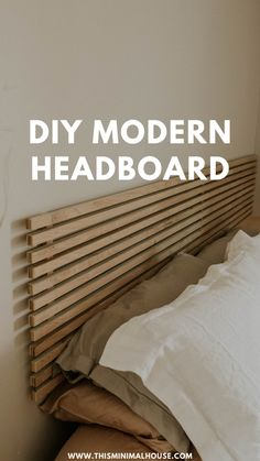 This Minimal House - DIY | MINIMALISM | HOME IMPROVEMENT Diy Headboard With Lights, Modern Headboard, Diy Bed Headboard, Floating Headboard, Headboard With Shelves, Headboard Designs, Headboards For Beds, Canvas Headboard, Creative Headboards Diy