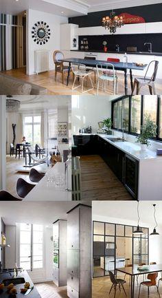 cuisine-haussmannien Living Room Kitchen, Dining Room, Decoration, Scandinavian Design, Kitchen Design, Architecture, Floor Plans, Mansions, Contemporary