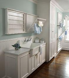 Laundry room Design- Rabaut Design via House of Turquoise via Centsational Girl Drying Rack Laundry, Laundry Room Storage, Laundry Room Design, Laundry In Bathroom, Small Laundry, Laundry Closet, Basement Laundry, Downstairs Bathroom, White Bathroom