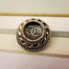 ButtonArtMuseum.com - Vintage Chanel Antique Golden Buttons Lot 2 Buttons