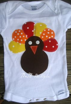 Thanksgiving Turkey Applique Onesie or Tshirt by nomies4monsters, $20.00