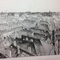"""mauriziorosenzweig: """" Dampyr(workinprogress)#roofs#praha#ink#dampyr #vampire #book #artlover #artlover #sergiobonelli #blood #rosenzweig #sky#horror """""""