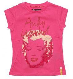 Hip t-shirt van Andy Warhol by Pepe Jeans met kapmouwtjes. Op de voorkant een mooie print van Marylin Monroe met glitters.