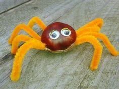 Deze herfstige knutsel past helemaal bij de tijd van het jaar. Ga naar het bos, zoek kastanjes en maak een spinnenweb!