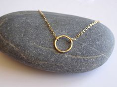 Gold Circle Necklace Circle Necklace Karma Jewelry by ShebasGems