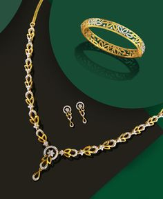 There's nothing she'll love more than you gifting her this delicately designed yellow gold and diamond neckpiece along with earrings and a bangle. Gold Bangles Design, Gold Earrings Designs, Gold Jewellery Design, Handmade Jewellery, Necklace Designs, Diamond Necklace Set, Gold Necklace, Diamond Jewelry, Circle Necklace