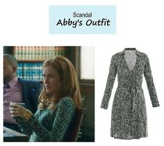 "On the blog: Abby's (Darby Stanchfield) green printed wrap dress | Scandal - ""The Fluffer"" (Ep. 316) #tvstyle #tvfashion #outfits #fashion #gladiators"
