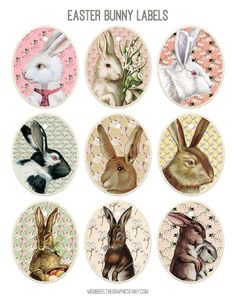 Printable Vintage Easter Tags Free from Graphics Fairy!The Graphics Fairy: bunny portraitsInspiration for Easter free printables Happy Easter, Easter Bunny, Easter Eggs, Easter Table, Easter Art, Planner Bullet Journal, Lapin Art, Illustration Mignonne, Deco Stickers