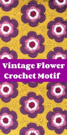 Vintage Flower Hexagon Crochet motif Hexagon Crochet, Crochet Squares, Crochet Motif, Crochet Flowers, Granny Squares, Crochet Stitches Patterns, Stitch Patterns, Crochet Afgans, Crochet Blankets