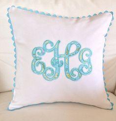 Pique Vine Monogram Appliqué Pillow by peppermintbee on Etsy, $48.00