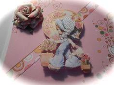 3D Card - Girl Card - Flowery Card with Little Girl by OhayoMtnDesigns on Etsy