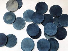 Round leather coasters hand-dyed with Yamato Indigo by Curious Corners. Each coaster is dyed in mid to dark indigo color, then treated with natural leather oil. cm) in diameter Comes as a set of Made in NYC. Indigo Colour, Indigo Dye, Leather Coasters, Leather Projects, Color Stories, Leather Accessories, Natural Leather, Coaster Set, Shades Of Blue