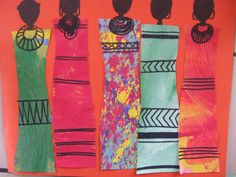 Masai People of Kenya Collage - textured paper or fabrics for their shuka (sheets wrapped around their bodies) African Art Projects, African Crafts, African Theme, African American Art, African Women, African Art For Kids, 3rd Grade Art, Inspiration Art, Africa Art