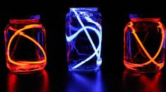 DIY a table lantern using glowsticks, dish detergent, and a jar.