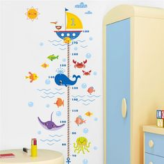 Cheap sticker for kids room, Buy Quality wall stickers for kids directly from China wall sticker Suppliers: Cartoon Shark Fish Boat height measure wall sticker for kids room pvc growth chart wall decals posters mural Bathroom Decor