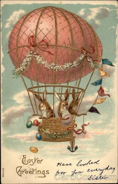 Rabbits Throw Eggs from Easter Egg Hot Air Balloon ~ vintage postcard Easter Art, Easter Crafts, Ballon Illustration, Umbrella Cards, Easter Pictures, Easter Parade, Vintage Greeting Cards, Hot Air Balloon, Vintage Postcards