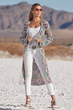 A luxe layering piece with an array of colorful cool hues grounded against a shimmery neutral tone. This open-crochet knit duster can be tied or worn open and is finished wit Classy Trends, Boho Trends, All White Outfit, White Outfits, Shape Wear, Boston Proper, Indie Fashion, Modern Boho, Dusters