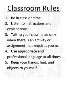 example of classroom rules