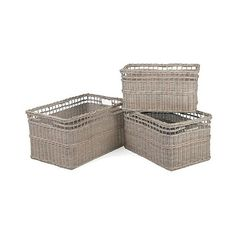Anita Wicker Collection Square Basket - Grey - Set of ($80) ❤ liked on Polyvore featuring home, home decor, small item storage, light grey, gray home decor, handmade boxes, braided basket, handmade woven baskets and colored wicker baskets